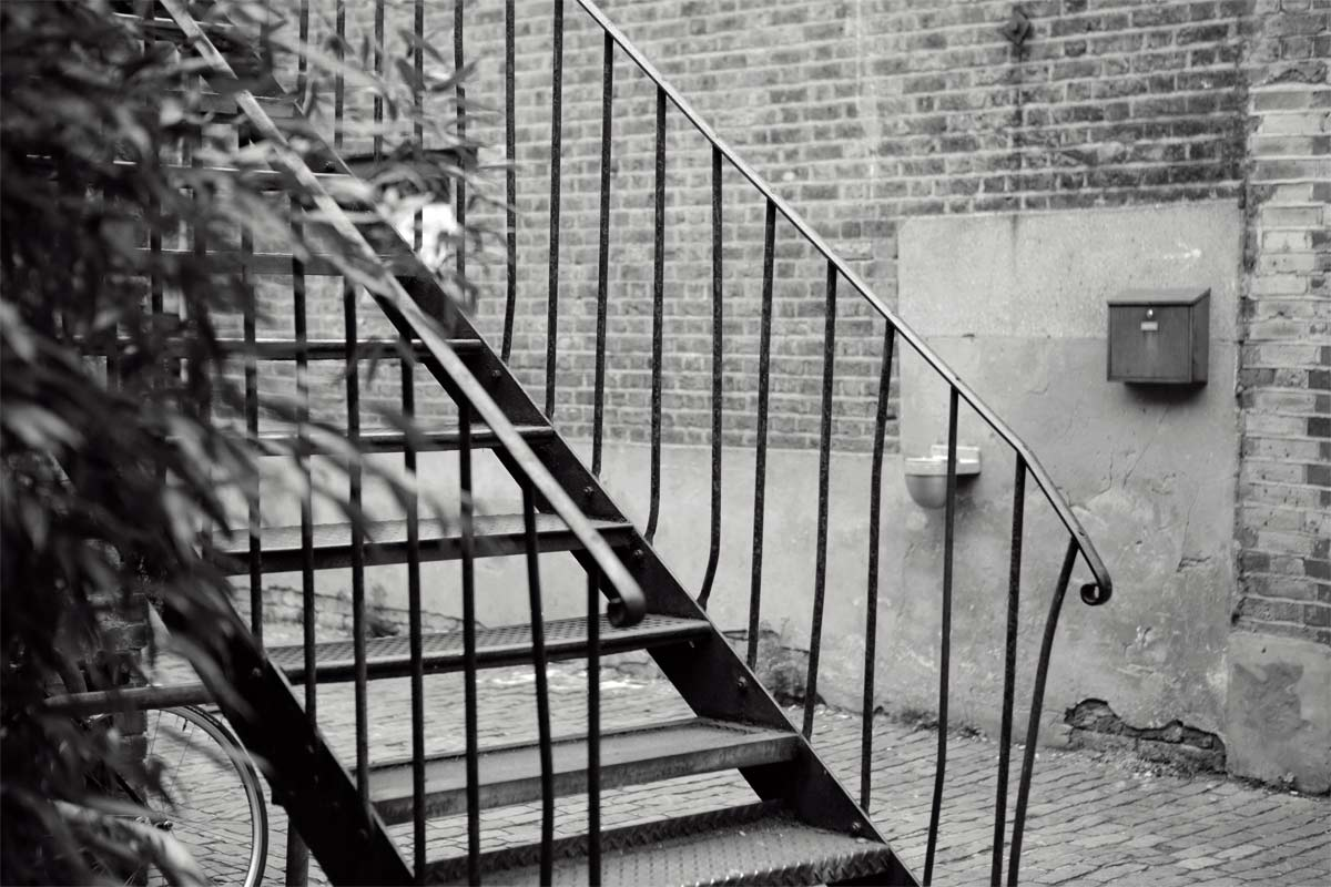 Black and white shot of the stairs leading to Hackney Studio One.